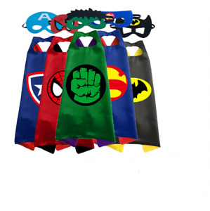 Superhero Marvel Iron Hulk Capes Masks Cosplay Party Dress Up Costume Kids Gift