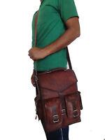 Men's NEW Vintage Genuine Leather Laptop Backpack Rucksack Messenger Bag Satchel