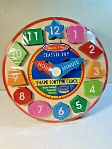 """Melissa & Doug  SHAPE SORTING CLOCK """"Classic Toy"""" Ages 3+"""