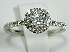 Moissanite Diamond Ring Pave Halo Natural Diamonds 14K white gold Heirloom