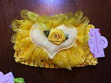PRETTY BABY OR CHILDS STRETCH HEADBANDS YELLOW HEARTS WITH FLOWERS