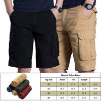 Summer Men Casual Cotton Cargo Shorts Overalls Long Length Multi Pocket Pants