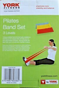 York Pilates Band Set 3 Levels Resistance Training Gym Exercise Toning Workout