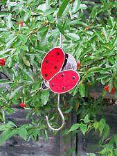 STAINED GLASS LARGE GARDEN TREE HOOK ORNAMENT LADYBIRD BNIB