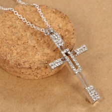 925 Solid Silver Cross Pendant Chain Necklace 24inches Women Jewelry