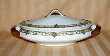 Antique Limoges French China Serving Bowl & Lid Pink Floral & Gold (1)