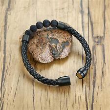 Mens Lava Stone Beads Bracelet Leather Braided Rope Bangle Bracelet, 8''-8.5''