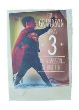 Superman birthday card for age 3 (THREE) GRANDSON  by Hallmark - 11528011