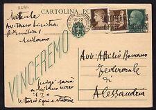 STORIA POSTALE REGNO 1943 Intero Postale 15c da Milano a Alessandria (FSA)