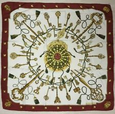 HERMES SCARF Vintage AUTHENTIC Les Cles Keys burgundy gold SILK wrap shawl carre