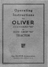 Oliver 80 Standard 80 Row Cop Tractor Operators manual