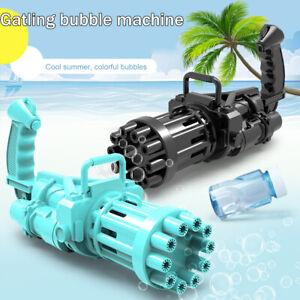 Safe Summer Cooling Fan Gatling Bubble Machine Bubbler Maker Outdoor Kid Gift