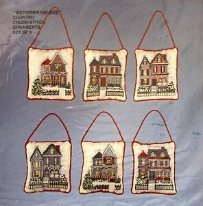 """Bucilla Christmas """"Victorian Houses"""" Vintage Ornaments Counted Cross Stitch Kit"""