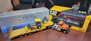CAT Highway Truck CT680 Old Cars Lowboy Trailer John Deere 310SK 1:50 Die-Cast