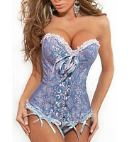 UK Women Sexy Party Bustier Boned Corset Sets Shaper Basques+Lingerie/Skirt 6-24