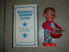 "Vintage Tin Mechanical ""Drummer Clown"" Wind-Up Toy"