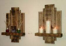 2 MEDIUM OAK WOODEN SCONCES SHELF SHELVES HANDMADE RUSTIC RECLAIMED FURNITURE