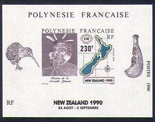 Polinesia FRANCESE 1990 Kiwi/Birds/mappa/MAORI/NATURA/stampex IMPF M/S (n33504)