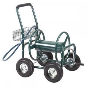 Garden Water Hose Reel Cart Outdoor Heavy Duty Yard Planting W/Basket