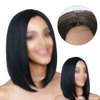 Women Real Natural Medium Straight Hair Wigs w/Bangs Lady Party Cosplay Full Wig