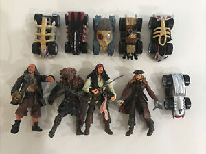 Disney Pirates Of The Carribean 4 Figurines And 6 Cars