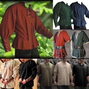 Medieval Retro Viking Men Norseman Tunic Top Shirt Blouse Pirate Cosplay Costume
