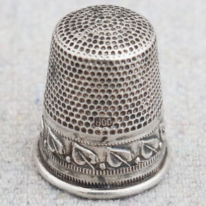 Antique Vintage German 800 Continental Silver Thimble Bead Leaf Boarder