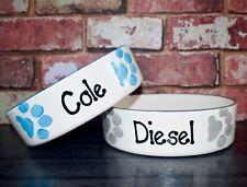 Dog bowl medium 20cm Personalised Hand Painted Ceramic bowl dish dog paw feeder