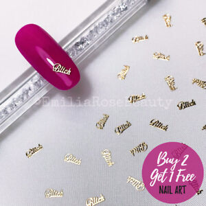 "Nail Art Glitter 30 x Gold Golden ""Bitch"" Script Lettering Word - 30 Per Pot"