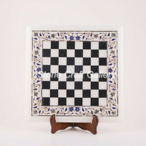"18"" Marble Chess Table Semi Precious stones Floral lapis Inlay Handmade"