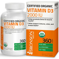 Vitamin D3 2,000 IU High Potency USDA Certified Organic Vitamin D, 360 Tablets
