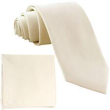 "New Polyester Men's 2.5"" Neck Tie & hankie set formal wedding prom party ivory"