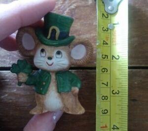 Guc vintage mini miniature shamrock St. Patricks Day Leprechaun mouse figure ☘