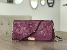 BURBERRY Medium Grain Madison Leather Clutch Chain Bag Burgundy MSRP $1150