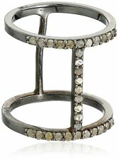 Azaara Sterling Silver Asymetrique Pave Champagne Diamond Ring 1/2 cttw, Size 7