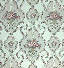 Dollhouse Miniature Shabby Chic Wallpaper Pink Green Floral 1:12 Victorian