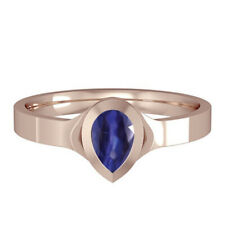 Rose Gold AAA Tanzanite Ring Pear Solitaire 18 Carat gold Handmade British