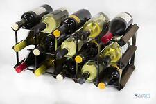 Cranville wine rack storage 15 bottle dark oak stain wood and metal assembled