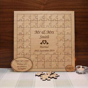 Personalised Oak Jigsaw Puzzle Wedding Guestbook, Guest Book, Decor,Groom, Bride