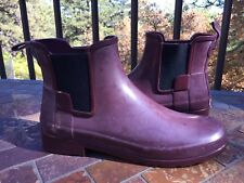HUNTER Chelsea Style Ankle Rain Boots Booties Sz 9 Wine Burgundy Rubber Galoshes