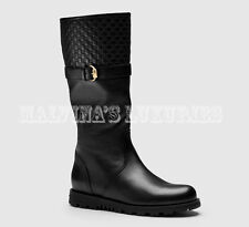 $895 GUCCI BOOTS BLACK LEATHER MICROGUCCISSIMA DETAIL OLIVE BUCKLE sz 34G US 4