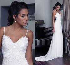 Hot Sexy Spaghetti Open Back Bridal Gowns Chiffon Lace Beach Wedding Dress White