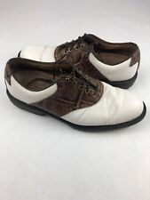 FootJoy Mens 7.5M Professional White Brown Croc Print Spikeless Golf Shoes 57042