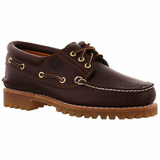 Timberland Men's Authentics 3 Eye Classic 50009 Leather Deck Shoe Burgundy UK 9