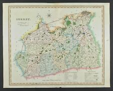 Rare old Map of Surrey by Henry Teesdale, engraved original with hand colour
