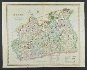Map of Surrey c1834 by Henry Teesdale original with hand colour original