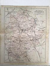 Bedford, England, 1880 Original Antique County Map Bartholomew, Philip