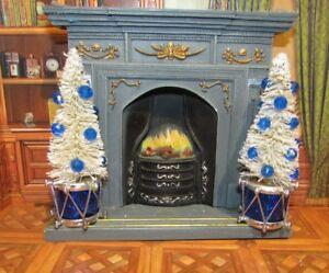 DOLLHOUSE MINIATURE CHRISTMAS TREES (BLUE AND WHITE) --OOAK