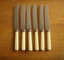 6 ANTIQUE ELKINGTON & CO CUTLERS&SILVER SMITHS DESSERT KNIVES -FAUX BONE HANDLES