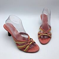 Enzo Angiolini EAMARGOS Women Pink Leather Strappy Sandal Shoe Size 8M Pre Owned